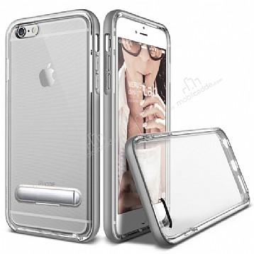 Eiroo Mixx Hybrid iPhone 6 Plus / 6S Plus Standlı Silver Silikon Kılıf