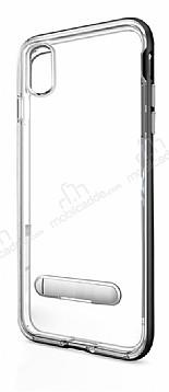 Eiroo Mixx Hybrid iPhone X Siyah Kenarlı Standlı Silikon Kılıf