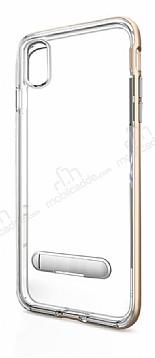 Eiroo Mixx Hybrid iPhone 8 Standlı Gold Silikon Kılıf