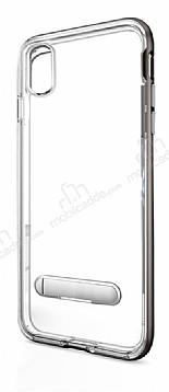 Eiroo Mixx Hybrid iPhone X Silver Kenarlı Standlı Silikon Kılıf