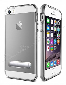 Eiroo Mixx Hybrid iPhone SE / 5 / 5S Silver Kenarlı Standlı Silikon Kılıf