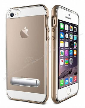 Eiroo Mixx Hybrid iPhone SE / 5 / 5S Gold Kenarlı Standlı Silikon Kılıf