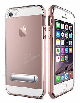 Eiroo Mixx Hybrid iPhone SE / 5 / 5S Rose Gold Kenarlı Standlı Silikon Kılıf