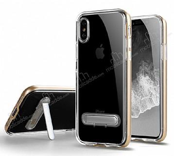 Eiroo Mixx Hybrid iPhone X Gold Kenarlı Standlı Silikon Kılıf