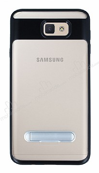 Eiroo Mixx Hybrid Samsung Galaxy J7 Prime Siyah Kenarlı Standlı Silikon Kılıf