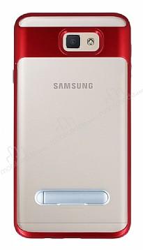Eiroo Mixx Hybrid Samsung Galaxy J7 Prime Kırmızı Kenarlı Standlı Silikon Kılıf