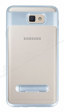 Eiroo Mixx Hybrid Samsung Galaxy J7 Prime Silver Kenarlı Standlı Silikon Kılıf