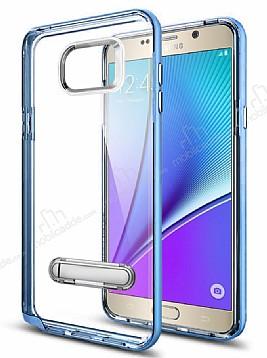 Eiroo Mixx Hybrid Samsung Galaxy Note 5 Mavi Kenarlı Standlı Silikon Kılıf