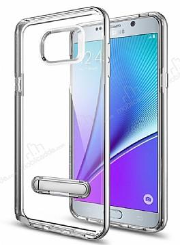 Eiroo Mixx Hybrid Samsung Galaxy Note 5 Silver Kenarlı Standlı Silikon Kılıf
