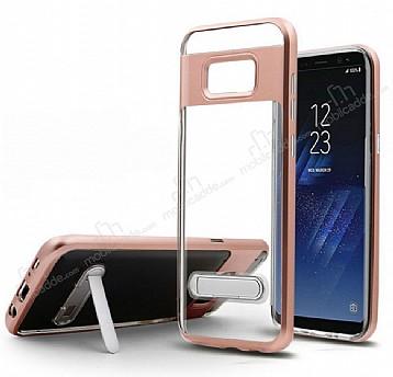 Eiroo Mixx Hybrid Samsung Galaxy Note 8 Kenarlı Standlı Rose Gold Silikon Kılıf