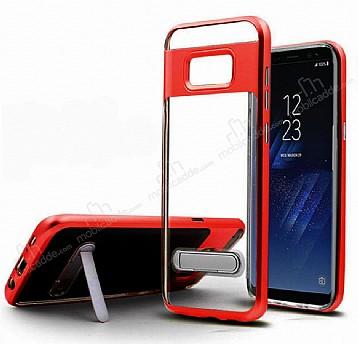 Eiroo Mixx Hybrid Samsung Galaxy Note 8 Kenarlı Standlı Kırmızı Silikon Kılıf