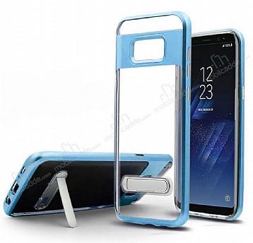 Eiroo Mixx Hybrid Samsung Galaxy Note 8 Kenarlı Standlı Mavi Silikon Kılıf