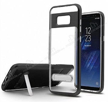 Eiroo Mixx Hybrid Samsung Galaxy Note 8 Kenarlı Standlı Siyah Silikon Kılıf