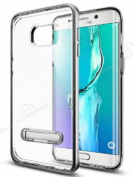 Eiroo Mixx Hybrid Samsung Galaxy S6 Edge Silver Kenarlı Standlı Silikon Kılıf