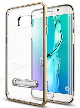 Eiroo Mixx Hybrid Samsung Galaxy S6 Edge Gold Kenarlı Standlı Silikon Kılıf