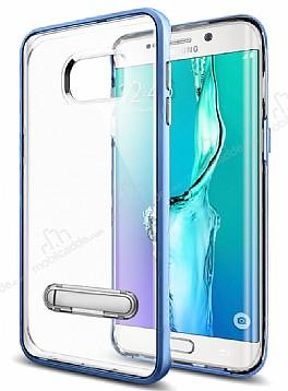 Eiroo Mixx Hybrid Samsung Galaxy S6 Edge Mavi Kenarlı Standlı Silikon Kılıf