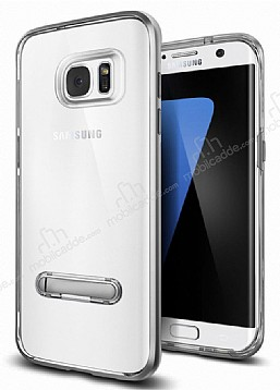 Eiroo Mixx Hybrid Samsung Galaxy S7 Edge Dark Silver Kenarlı Standlı Silikon Kılıf
