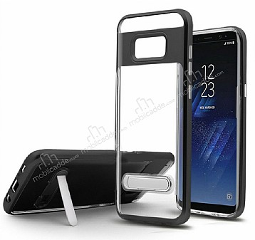 Eiroo Mixx Hybrid Samsung Galaxy S8 Plus Standlı Siyah Silikon Kılıf