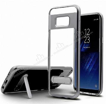 Eiroo Mixx Hybrid Samsung Galaxy S8 Standlı Dark Silver Silikon Kılıf