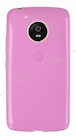 Eiroo Motorola Moto G5 Ultra İnce Şeffaf Pembe Silikon Kılıf