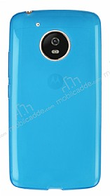Eiroo Motorola Moto G5 Ultra İnce Şeffaf Mavi Silikon Kılıf