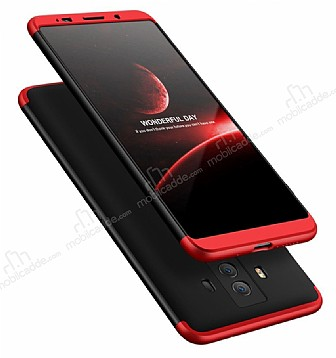 Eiroo Protect Fit Huawei Mate 10 Pro 360 Derece Koruma Rubber Siyah-Kırmızı Kılıf