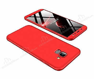 Eiroo Protect Fit Samsung Galaxy A6 2018 360 Derece Koruma Kırmızı Rubber Kılıf