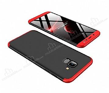 Eiroo Protect Fit Samsung Galaxy A6 Plus 2018 360 Derece Koruma Siyah-Kırmızı Rubber Kılıf