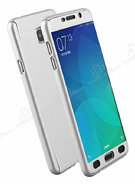 Eiroo Protect Fit Samsung Galaxy C7 Pro 360 Derece Koruma Silver Rubber Kılıf