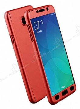 Eiroo Protect Fit Samsung Galaxy C9 Pro 360 Derece Koruma Kırmızı Rubber Kılıf