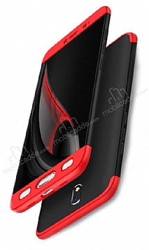 Eiroo Protect Fit Samsung Galaxy J7 Pro 2017 360 Derece Koruma Siyah-Kırmızı Rubber Kılıf
