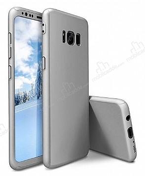 Eiroo Protect Fit Samsung Galaxy S8 Plus 360 Derece Koruma Silver Rubber Kılıf