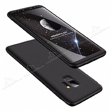 Eiroo Protect Fit Samsung Galaxy S9 Plus 360 Derece Koruma Siyah Rubber Kılıf