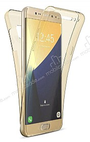 Eiroo Protection Samsung Note 5 360 Derece Koruma Şeffaf Gold Silikon Kılıf