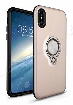 Eiroo Q-Armor iPhone X Selfie Yüzüklü Ultra Koruma Gold Kılıf