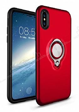 Eiroo Q-Armor iPhone X Selfie Yüzüklü Ultra Koruma Kırmızı Kılıf