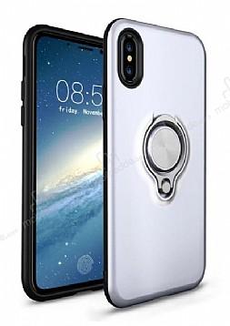 Eiroo Q-Armor iPhone X / XS Selfie Yüzüklü Ultra Koruma Silver Kılıf