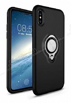 Eiroo Q-Armor iPhone X Selfie Yüzüklü Ultra Koruma Siyah Kılıf