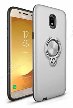 Eiroo Q-Armor Samsung Galaxy J7 Pro 2017 Selfie Yüzüklü Ultra Koruma Silver Kılıf