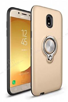 Eiroo Q-Armor Samsung Galaxy J7 Pro 2017 Selfie Yüzüklü Ultra Koruma Gold Kılıf