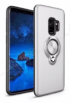Eiroo Q-Armor Samsung Galaxy S9 Plus Selfie Yüzüklü Ultra Koruma Silver Kılıf