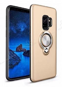 Eiroo Q-Armor Samsung Galaxy S9 Selfie Yüzüklü Ultra Koruma Gold Kılıf