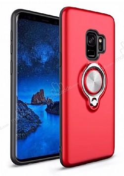 Eiroo Q-Armor Samsung Galaxy S9 Selfie Yüzüklü Ultra Koruma Kırmızı Kılıf