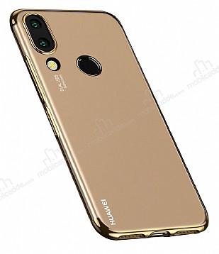 Eiroo Radiant Huawei P20 Lite Gold Kenarlı Şeffaf Silikon Kılıf