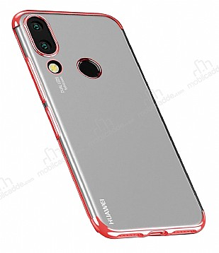 Eiroo Radiant Huawei P20 Lite Kırmızı Kenarlı Şeffaf Silikon Kılıf