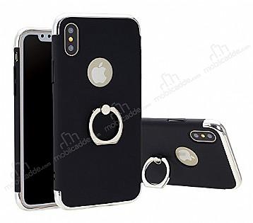 Eiroo Ring Fit iPhone X Selfie Yüzüklü Siyah Rubber Kılıf