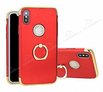 Eiroo Ring Fit iPhone X Selfie Yüzüklü Kırmızı Rubber Kılıf
