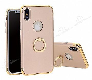 Eiroo Ring Fit iPhone X Selfie Yüzüklü Gold Rubber Kılıf