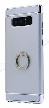 Eiroo Ring Fit Samsung Galaxy Note 8 Selfie Yüzüklü Silver Rubber Kılıf