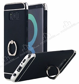 Eiroo Ring Fit Samsung Galaxy S8 Plus Selfie Yüzüklü Siyah Rubber Kılıf